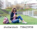 closeup of female hands is... | Shutterstock . vector #758625958