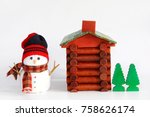 Snowman Doll  Log Cabin With...
