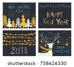 christmas set  hand drawn style ... | Shutterstock .eps vector #758626330