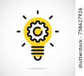 light bulb icon and gear.... | Shutterstock .eps vector #758627926