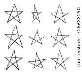 set hand drawn star. vector... | Shutterstock .eps vector #758633590