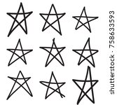 Set Hand Drawn Star. Vector...