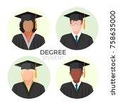degree student faceless avatars ... | Shutterstock .eps vector #758635000
