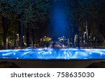 Fountain and lights in the night - stock photo