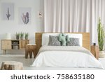 wooden bedside tables placed in ... | Shutterstock . vector #758635180