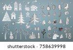 christmas paper art elements... | Shutterstock .eps vector #758639998