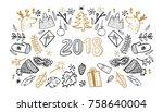 sketchy vector hand drawn set... | Shutterstock .eps vector #758640004