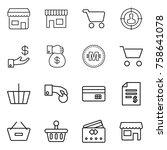 thin line icon set   shop  cart ...