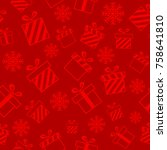 christmas seamless pattern with ... | Shutterstock . vector #758641810