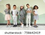 cute stylish children near... | Shutterstock . vector #758642419
