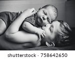 the older brother hugs the... | Shutterstock . vector #758642650