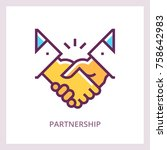 partnership icon. handshake... | Shutterstock .eps vector #758642983