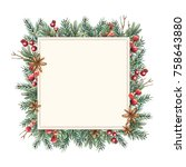 watercolor christmas frame... | Shutterstock . vector #758643880