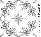 black and white seamless ...   Shutterstock .eps vector #758644150