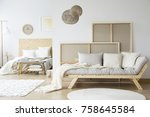 kings size bed and a cozy sofa... | Shutterstock . vector #758645584