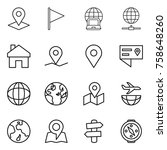thin line icon set   pointer ... | Shutterstock .eps vector #758648260
