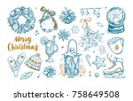 merry christmas and happy new... | Shutterstock .eps vector #758649508