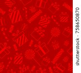 christmas seamless pattern with ... | Shutterstock . vector #758650870