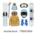 winter sports stuff and apparel ... | Shutterstock .eps vector #758651806