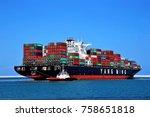 tug boat s  assisted mega... | Shutterstock . vector #758651818
