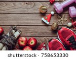 fitness  healthy and active... | Shutterstock . vector #758653330
