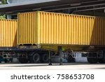yellow container truck in... | Shutterstock . vector #758653708