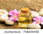 bottle of aroma essential oil...   Shutterstock . vector #758654458