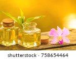 bottle of aroma essential oil...   Shutterstock . vector #758654464