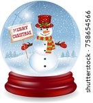 snow globe with a cute snowman... | Shutterstock .eps vector #758654566