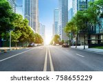 empty highway with cityscape of ... | Shutterstock . vector #758655229