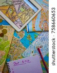 tablet with a map of paris ... | Shutterstock . vector #758660653