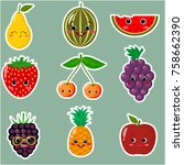 icons of fruit smiley stickers... | Shutterstock .eps vector #758662390