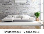 modern bright interior with air ... | Shutterstock . vector #758665018