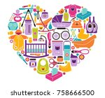 icons of products for babies in ... | Shutterstock .eps vector #758666500