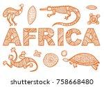 the inscription of africa in... | Shutterstock .eps vector #758668480