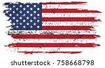 grunge american flag.vector old ...   Shutterstock .eps vector #758668798