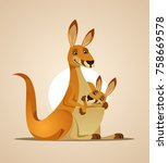 Happy Mom Kangaroo Character...