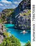 top vertical view to tropic... | Shutterstock . vector #758670088