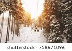 people are lifting on ski lift... | Shutterstock . vector #758671096