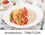 tasty and healthy oatmeal... | Shutterstock . vector #758671234