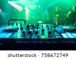 dj booth at night club party... | Shutterstock . vector #758672749