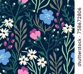 vector floral seamless pattern... | Shutterstock .eps vector #758672806