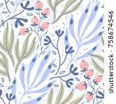 vector floral seamless pattern... | Shutterstock .eps vector #758674546