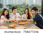 friends having party on the... | Shutterstock . vector #758677246