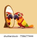 surprised curious parrot... | Shutterstock .eps vector #758677444