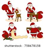 set of santa clauses ready for... | Shutterstock .eps vector #758678158