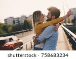 young couple hugging dating and ... | Shutterstock . vector #758683234