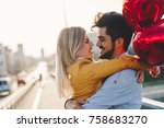 couple in love kissing laughing ... | Shutterstock . vector #758683270