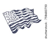usa flag hand drawn on white... | Shutterstock .eps vector #758683750
