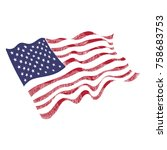 usa flag hand drawn on white... | Shutterstock .eps vector #758683753